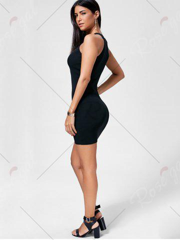 New Plunging Neckline Lace Up Party Bodycon Mini Dress - ONE SIZE BLACK Mobile
