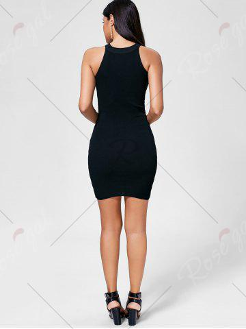 Store Plunging Neckline Lace Up Party Bodycon Mini Dress - ONE SIZE BLACK Mobile