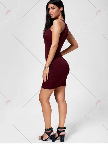 New Plunging Neckline Lace Up Party Bodycon Mini Dress - ONE SIZE WINE RED Mobile