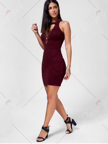 Outfits Plunging Neckline Lace Up Party Bodycon Mini Dress - ONE SIZE WINE RED Mobile