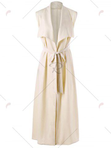 Best Maxi Sleeveless Waterfall Trench Coat - L LIGHT BEIGE Mobile