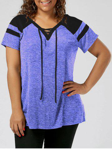 Plus Size Lace Up Raglan Sleeve Top - Black And Blue - 5xl