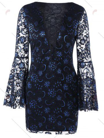 Trendy Bell Sleeve Lace Up Lace Dress - L BLACK Mobile