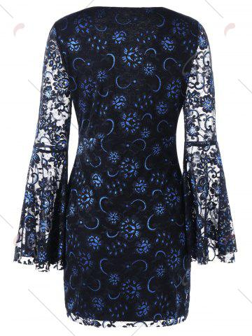 Trendy Bell Sleeve Lace Up Lace Dress - 2XL BLACK Mobile