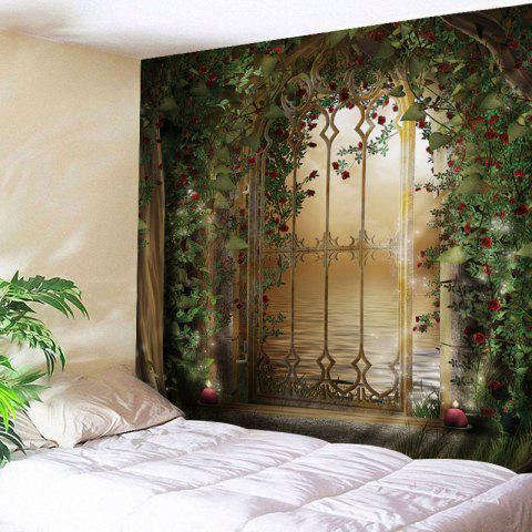 Floral Door Lake Print Tapestry Wall Hanging Art Decoration - Green - W91 Inch * L71 Inch