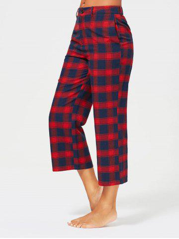 Shops Tartan Plaid Print Capri Straight Pants