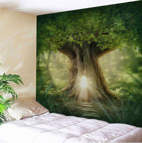Mew Big Tree Wall Hanging Home Decor Tapestry - Green - W71 Inch * L91 Inch