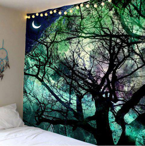 Home Decor Moon Tree Wall Hanging Tapestry - Light Green - W79 Inch * L71 Inch