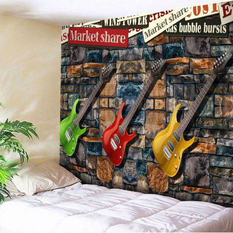 Microfiber Wall Hanging Three Guitar Printed Tapestry - Colormix - W91 Inch * L71 Inch