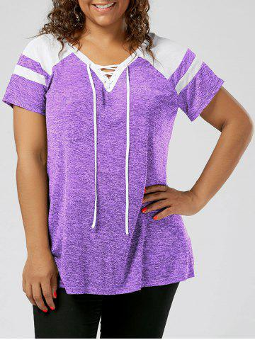 Cheap Plus Size Lace Up Raglan Sleeve Top