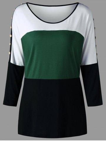 Buy Plus Size Color Block Button Tunic Tee