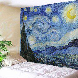 Watercolor Space Home Decor Hanging Throw Tapestry - BLUE
