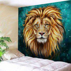 Lion Animal Printed Wall Hanging Tapestry - BLACKISH GREEN