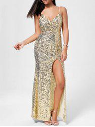 Sequin High Slit Long Evening Dress - GOLDEN