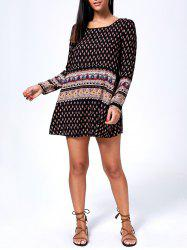 Long Sleeve Printed Mini T-Shirt Dress - BLACK