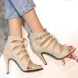 Tie Up Stiletto Heel Zip Sandals