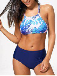 Handpainted Palm Leaf Cropped Top Bikini Set