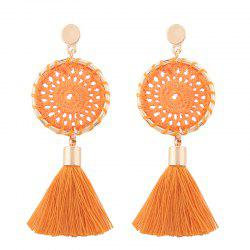 Floral Crochet Tassel Drop Earrings