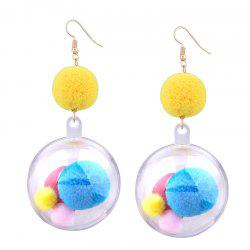 Fuzzy Ball Pompon Hook Drop Earrings