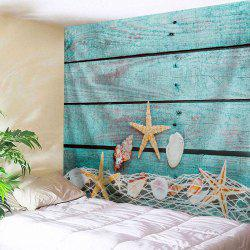 Wood Grain Conch Wall Decor Hanging Tapestry - LAKE BLUE