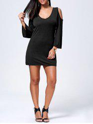 V-Neck Open Back Long Sleeve Cut Out Shoulder Dress - BLACK XL