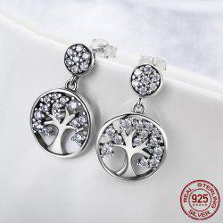 Sterling Silver Rhinestone Tree of Life Earrings