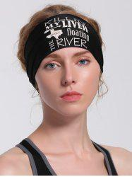 Running Hip Hop Letters Pattern Headband - Noir