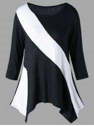 Two Tone Jersey T-shirt - WHITE AND BLACK 2XL