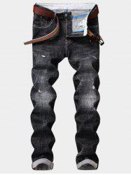 Zipper Fly Graphic Embellished Destroy Wash Ripped Jeans