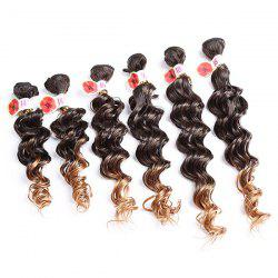 6PCS Deep Wave Ombre Colormix Synthetic Hair Wefts - GRADUAL BROWN
