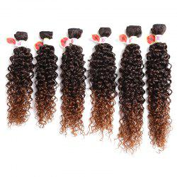 6PCS 14~18 Inches Jerry Wave Colormix Hair Wefts - DEEP BROWN