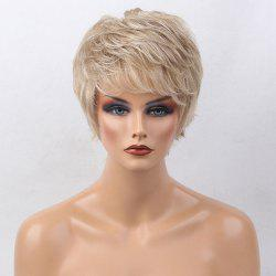 Short Side Bang Colormix Tail Upwards Layered Slightly Curly Human Hair Wig - COLORMIX