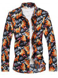 3D Maple Leaves and Butterflies Print Plus Size Shirt - COLORMIX 6XL