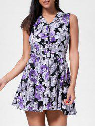 Floral Sleeveless A Line Mini Dress