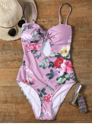One Piece Keyhole Floral Swimsuit