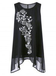 Asymmetric Plus Size Floral Embroidered Top