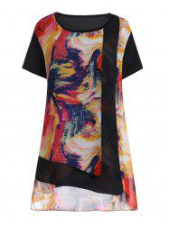 Plus Size Ombre Chiffon Overlay Top