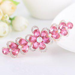 Faux Crystal Rhinestone Inlaid Flower Shape Barrette -