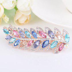 Rhinestone Faux Gem Leaf Shape Barrette