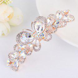Butterfly Design Faux Gem Inlay Rhinestone Barrette - Blanc