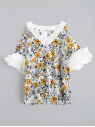V Neck Chiffon Floral Cold Shoulder Blouse