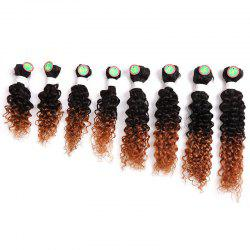 8PCS Caribbean Jerry Curly Human Hair Mixed Synthetic Fiber Hair Wefts - BROWN
