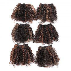 6PCS Short Fluffy Colormix Bloom Afro Curly Synthetic Hair Wefts - Brun Clair