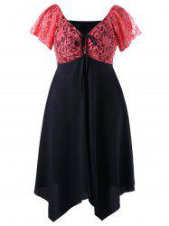 Plus Size Lace Yoke Asymmetric Chiffon Dress