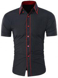 Button Down Contrast Trim Shirt - BLACK