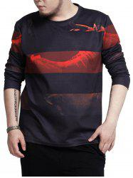 Crew Neck Stripe Print Plus Size Tee