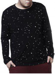 Plus Size Crew Neck Paint Splatter Tee