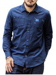 Double Pocket Plus Size Denim Shirt - DEEP BLUE