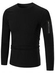 Stretch Zip Shoulder Long Sleeve T-shirt