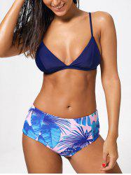 Palm Leaf Print Reversible Bikini Set